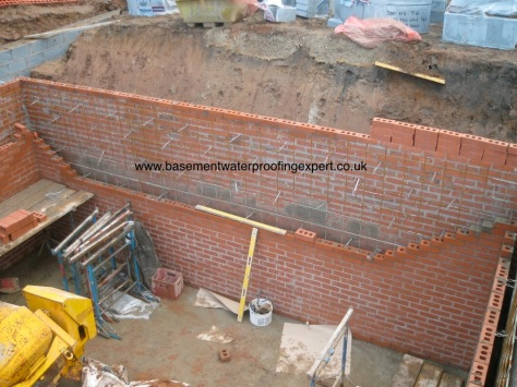 Reinforced masonry prior to concrete fill.
