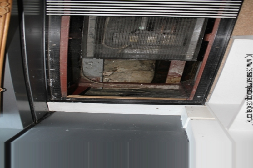 Services duct housing electric heating system.